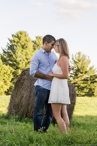 Engaged couple in the fields of East Aurora, New York