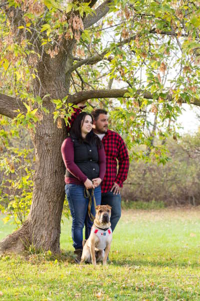 Newly engaged couple with a pet in Lewiston, NY