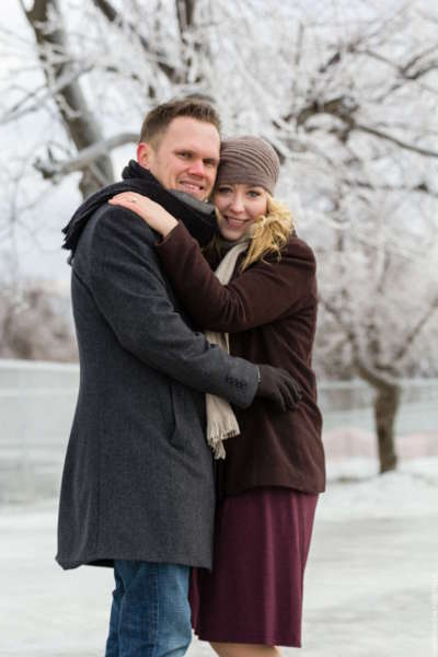 Engaged couple in the winter